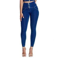 Royal Wolf Dámské legíny Melody Push-Up Leg-Jeans s knoflíky, imitace Dark Blue Jeans, VP M