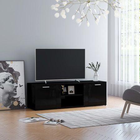 shumee magasfényű fekete forgácslap TV-szekrény 120 x 34 x 37 cm