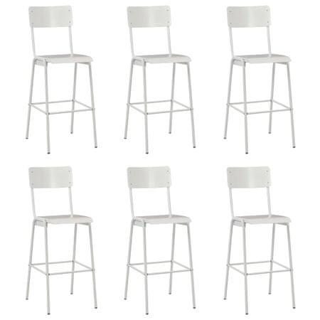 shumee Barski stolčki 6 kosov beli trden vezan les in jeklo