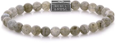 Rebel & Rose Ezüst gyöngy karkötő Labradorit Shield RR-6S005-S (átmérő 15 cm - XS) ezüst 925/1000