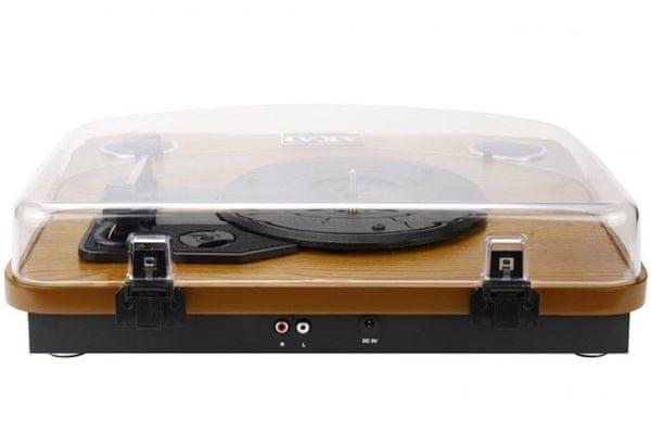 moderní retro Bluetooth gramofon akai att-11bt 3 rychlosti přehrávání desek 33 45 78 otáček za minutu rca výstupy auto stop on off ochrana proti prachu usb sd karta digitalizace desek vlastní reproduktory 0,8 w rovné raménko keramická kazeta rubínový stylus
