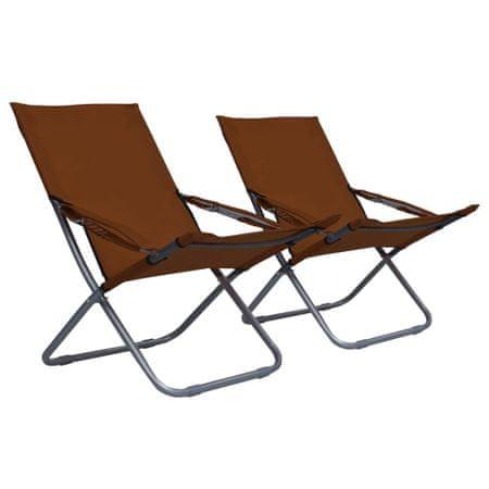 shumee Zložljivi stoli za na plažo 2 kosa iz blaga rjavi