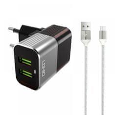 LDNIO komplet adapter A2206 220v 2x USB, max 2,4A + micro kabel