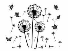 RoomDecor.eu Nálepky na stenu Púpava s motýle-07 (čierna)