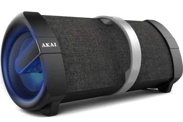 nowoczesny głośnik imprezowy akai abts-v1 przenośny Bluetooth moc 30 w  aux in usb fm radio led wyświetlacz uchwyt wyjście mikrofonu bateria litowo-jonowa