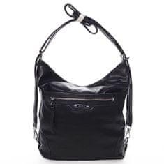 Romina & Co. Bags Dámská pohodlná koženková kabelka/batoh Anicet černá