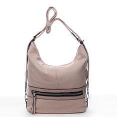Romina & Co. Bags Praktický dámsky koženkový kabelko/batoh Hervé ružový