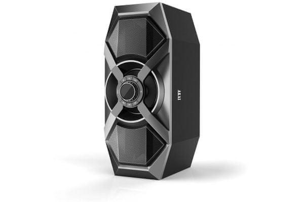moderní párty reproduktor akai abts-p6 přenosný Bluetooth 60 w výkon aux in usb fm rádio lcd displej flash light xbass ekvalizér dps procesor mikrofonní vstup