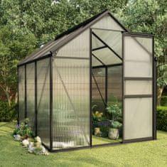 shumee Skleník antracitový hliníkový 3,61 m²