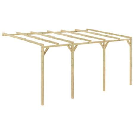 Pergola przyścienna, 5 x 3 x 2,1 m, drewniana
