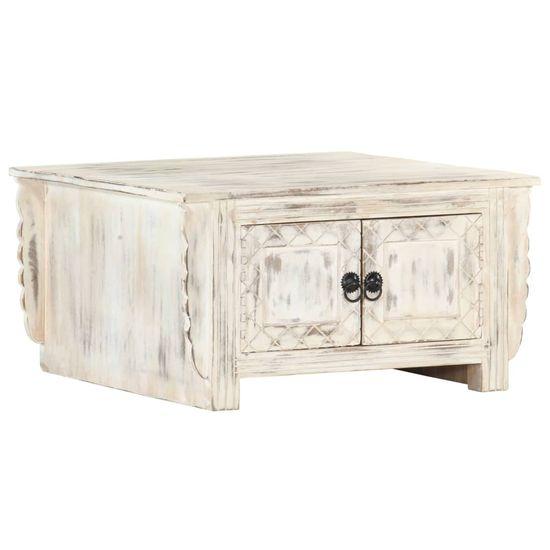shumee Konferenční stolek bílý 66 x 66 x 35 cm masivní mangovník