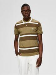 Selected Homme khaki pruhované polo tričko Aro