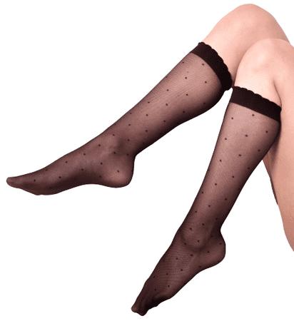 Andrea Bucci Női nylon térdzokni Polka Dot Knee Highs 03/05144 38 - 42 fekete