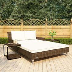 shumee 2-osobowe łóżko ogrodowe z poduszkami, rattan PE, brązowe