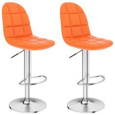 Barové stoličky 2 ks, oranžové, umelá koža