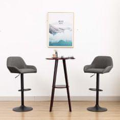Barové stoličky 2 ks s opierkami na ruky, tmavosivé, látka