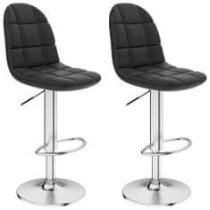 Barové stoličky 2 ks, čierne, umelá koža