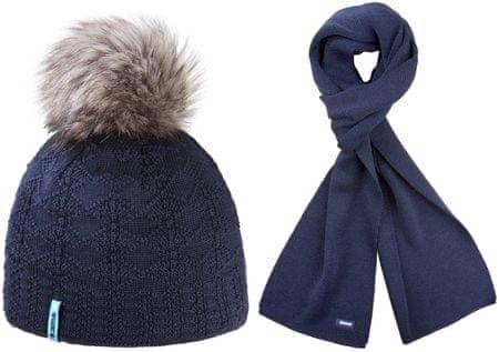 Kama czapka i szalik Merino A109 + S22, niebieski