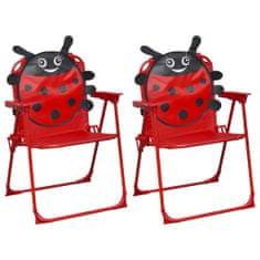 Detské záhradné stoličky 2 ks červené látkové