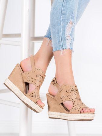 Női szandál 65571 + Nőin zokni Gatta Calzino Strech, bézs és barna árnyalat, 38