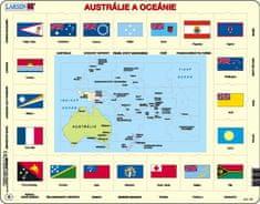 LARSEN Puzzle Austrálie a Oceánie - mapa a vlajky 70 dílků