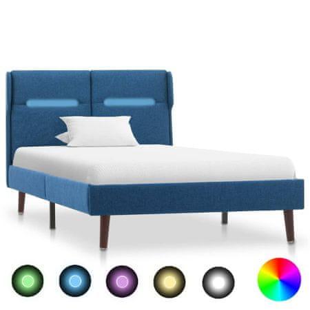 shumee kék LED-es szövet ágykeret 90 x 200 cm