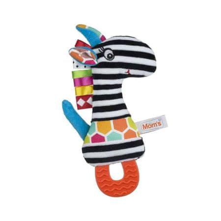 Mom's igrača Zebra, mehka, z grizalom, črna/bela
