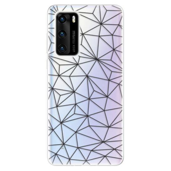 iSaprio Silikonové pouzdro - Abstract Triangles 03 - black pro Huawei P40