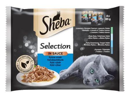 Sheba alutasakok macskáknak válogatott hallal, mártásban, 52 x 85 g