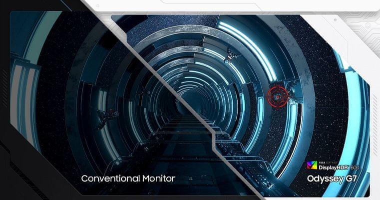 monitor Samsung Odyssey G7 (LC27G75TQSUXEN) DisplayHDR 600 600 nitů svítivost vysoký dynamický rozsah