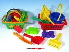 Lori Toys Lori 2 bábovky, rýč, lopatka, hrabičky, sítko, kbelík, nákupní košík