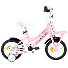 shumee Dětské kolo s předním nosičem 12'' bílo-růžové