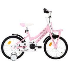 shumee Dětské kolo s předním nosičem 16'' bílo-růžové
