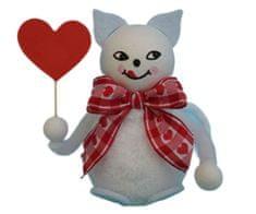 Kraftika Figurka z předené bavlny, kočka se srdíčkem, ozdoba