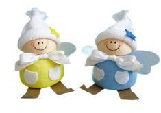 Kraftika Figurka z předené bavlny, 2 vánoční andílci, ozdoba