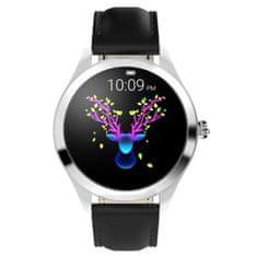 NEOGO SmartWatch Glam, dámske smart hodinky, čierne/kožené