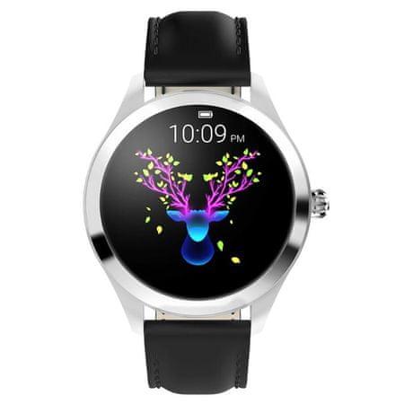 NEOGO SmartWatch Glam, ženska pametna ura, črna/usnje