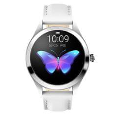 NEOGO SmartWatch Glam, dámske smart hodinky, biele/kožené
