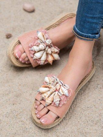 Női papucs 65666 + Nőin zokni Sophia 2pack visone, rózsaszín árnyalat, 36