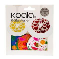 Koala KOALA Rozlišovač na skleničky set 6 ks plameňák