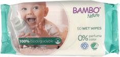 Bambo Nature biorazgradljivi vlažilni robčki, 50 kosov