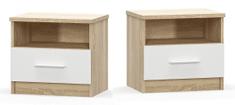 Noční stolek KABIR - 2 ks, dub sonoma/bílá