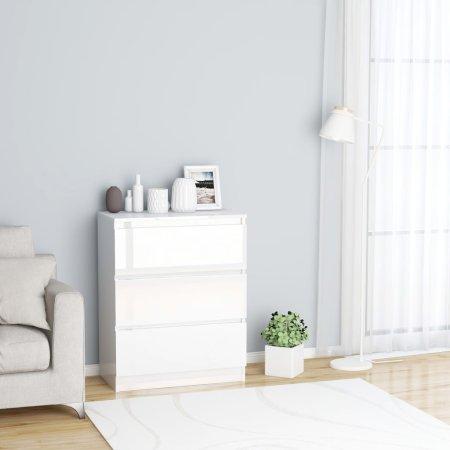 shumee Komoda visok sijaj bela 60x35x76 cm iverna plošča