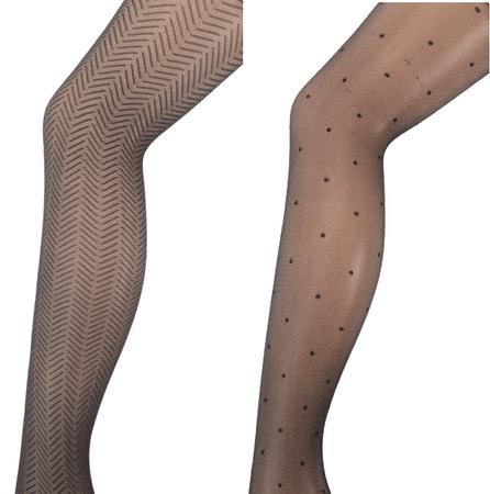 Andrea Bucci zestaw rajstop damskich, wzory, 2 szt., Design Tights 2 Pair Pack 03/02428, M czarny