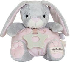 My Teddy Mäkký guľatý zajačik s hryzátkom - ružová