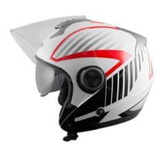 A-Pro Openline Jet kaciga, bijela/crvena