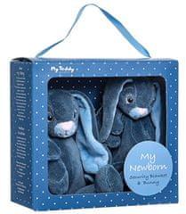 My Teddy Darčekový set - môj malý zajačik a muchláčik, modrá