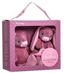 My Teddy Darčekový set - môj malý zajačik a muchláčik, ružová