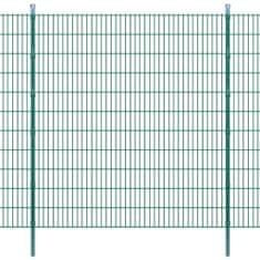 2D Panele i słupki ogrodzeniowe 2008x2230 mm 18 m zielone