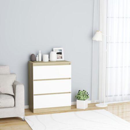 shumee Komoda bela in sonoma 60x35x76 cm iverna plošča